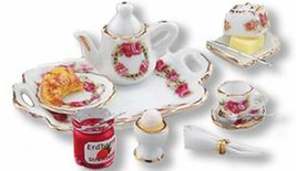 Dollhouse Deluxe Breakfast Tray Set 1.656/6 Reutter Roseband Miniature - $39.40