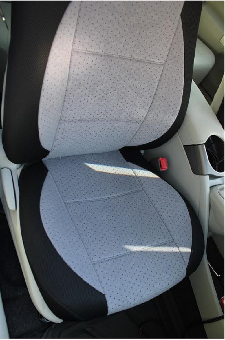 honda fit jazz 2008 two front custom velour gray black car seat covers seat covers. Black Bedroom Furniture Sets. Home Design Ideas