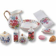 DOLLHOUSE Bath Accessories Reutter Dresden Rose 1.618/8 Pitcher 10 pc Miniature - $30.55