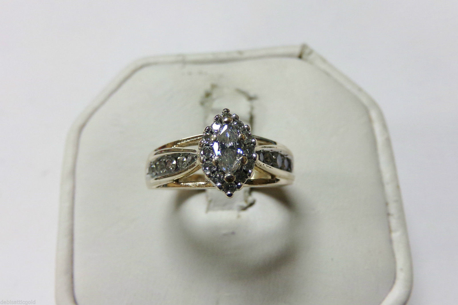 keepsake 14k yellow gold marquise diamond wedding