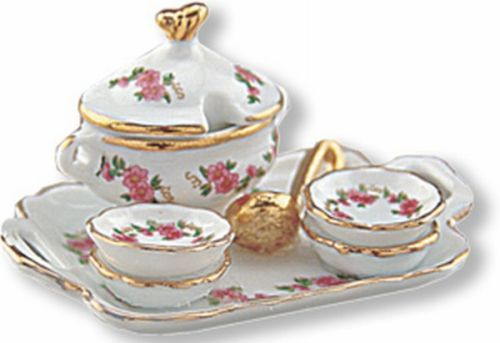 DOLLHOUSE Teacup Plate Dessert Set 1.367//8 Reutter Black Rose Miniature