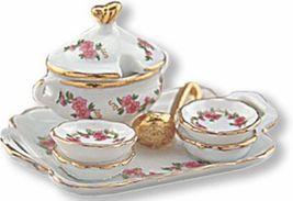DOLLHOUSE Miniature Soup for 4 Reutter Porcelain 1.647/8 Lisa Pattern Pink Roses - $24.90