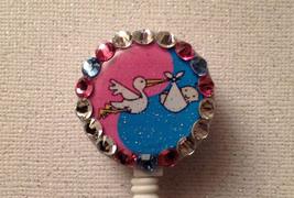 Peds Badge Reel Id Holder Swarovski pink blue alligator clip handmade new - $9.95