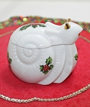 Vintage Lefton Handpainted Christmas Holly Snail Trinket Box - $9.99