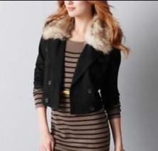 NWT Ann Taylor Loft Ladies Faux Fur Collar Jacket SZ M - $29.69