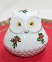 Vintage Lefton Handpainted Christmas Holly Owl Trinket Box - $9.99