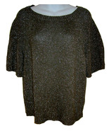 J. Crew Metallic Slouch Sweater sz M olive green short sleeved - $15.00