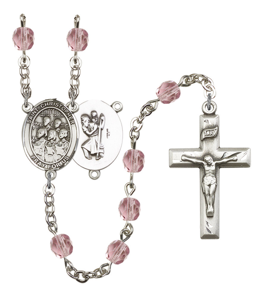 Women's St Christopher Rosary Beads Silver Plated Birthstone June R6000LAMS-8514