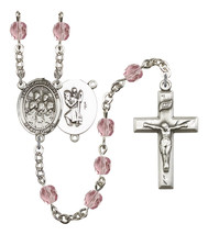 Women's St Christopher Rosary Beads Silver Plated Birthstone June R6000LAMS-8514 - $74.55