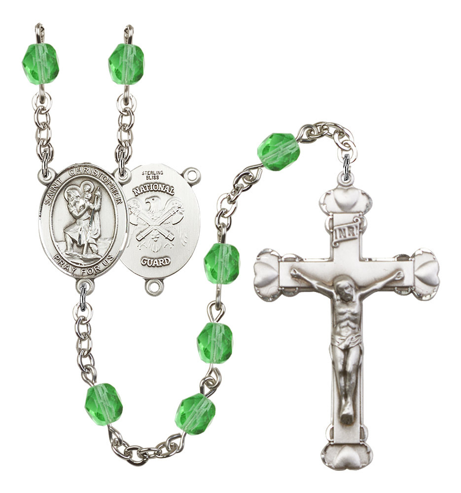 Women's St Christopher Rosary Beads Birthstone August R6001PDS-8022S5