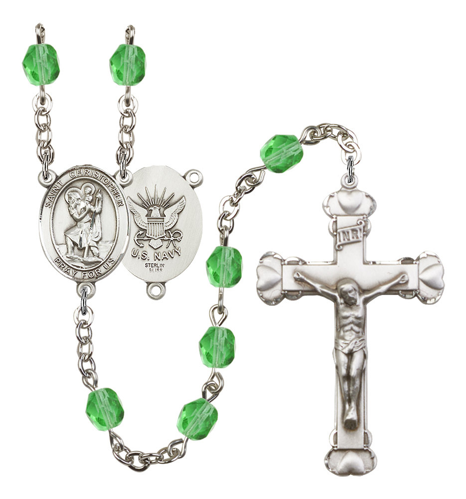 Women's St Christopher Rosary Beads Birthstone August R6001PDS-8022S6