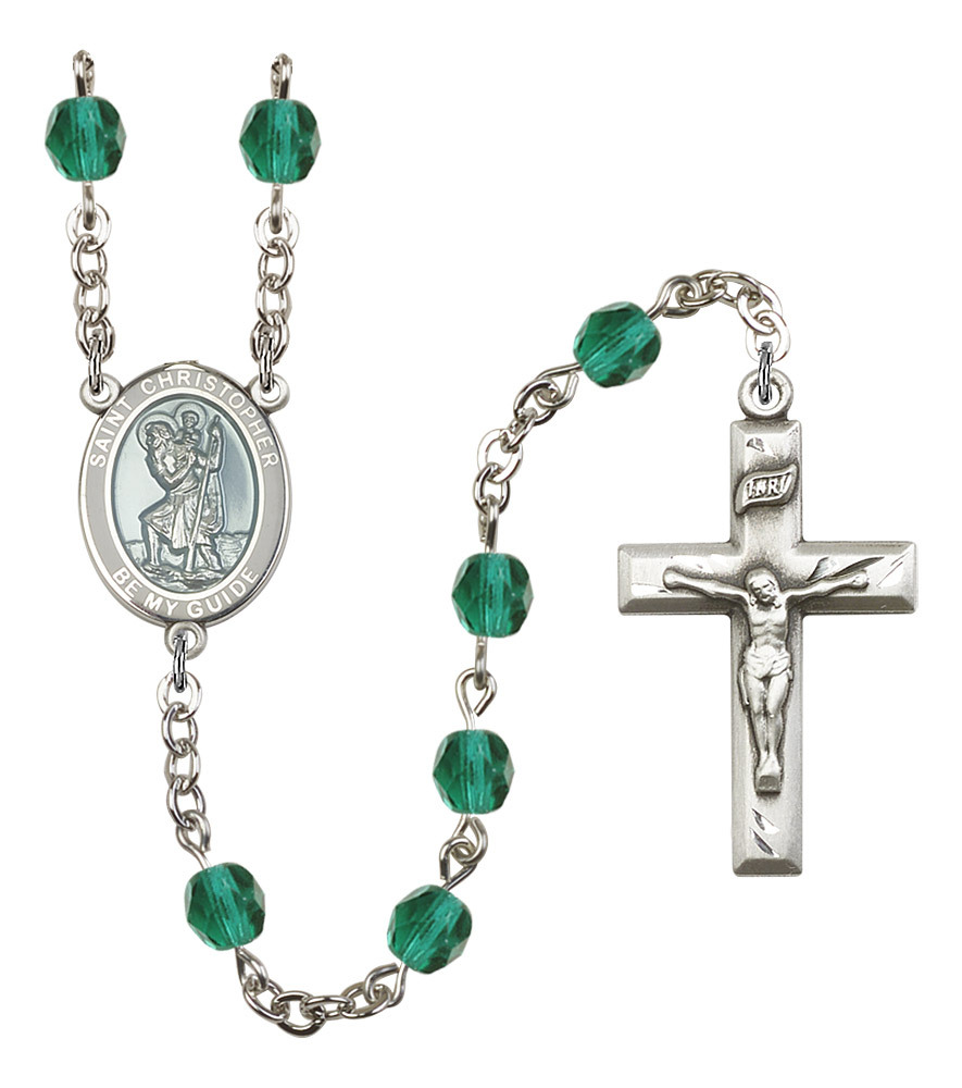 Women's St Christopher Rosary Beads Birthstone December R6000ZCS-8022WB