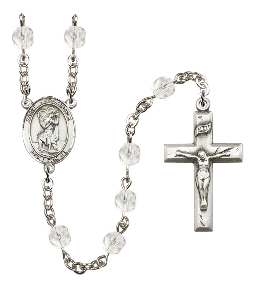 Women's St Christopher Rosary Beads Silver Plated Birthstone April R6000CS-8022