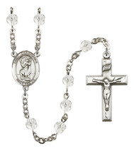 Women's St Christopher Rosary Beads Silver Plated Birthstone April R6000CS-8022 - $74.55