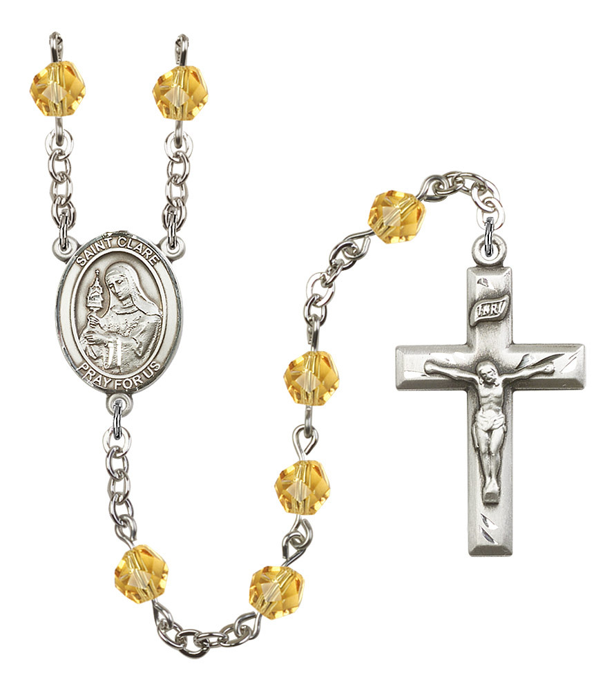 Women's St Clare Of Assisi Rosary Beads Birthstone November R6000TPS-8028