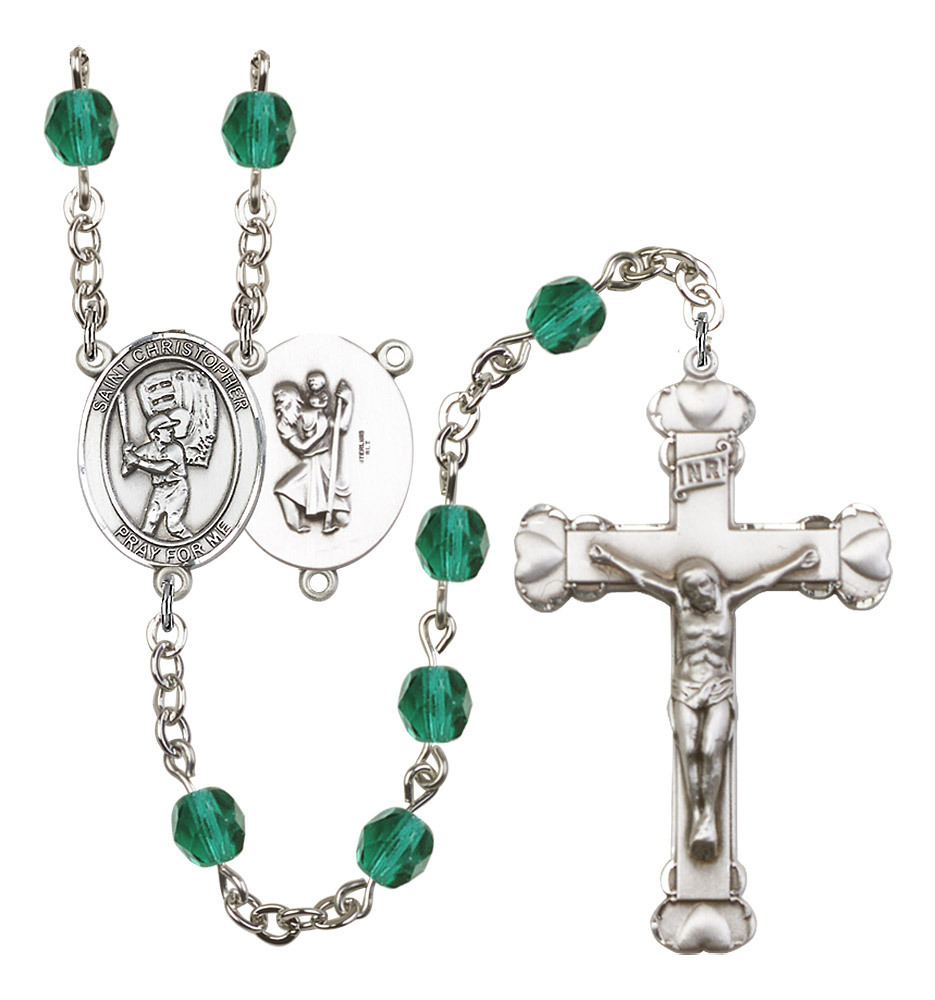 Women's St Christopher Rosary Beads Birthstone December R6001ZCS-8500