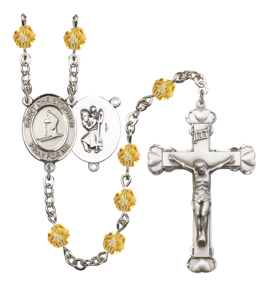 Women's St Christopher Rosary Beads Birthstone November R6001TPS-8193
