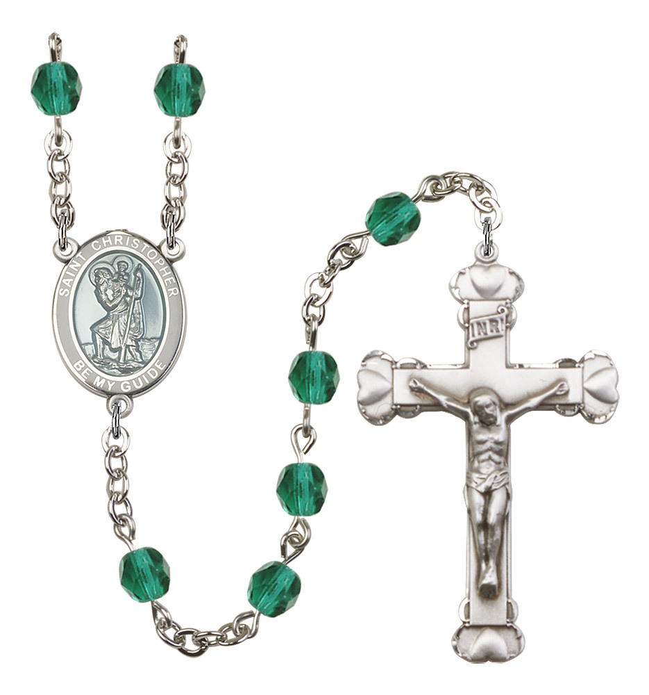 Women's St Christopher Rosary Beads Birthstone December R6001ZCS-8022WB