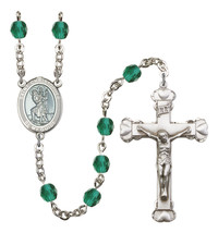 Women's St Christopher Rosary Beads Birthstone December R6001ZCS-8022WB - $74.55