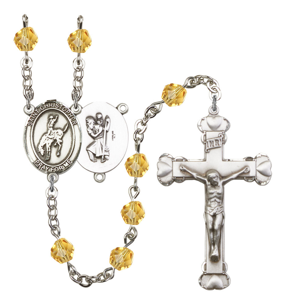 Women's St Christopher Rosary Beads Birthstone November R6001TPS-8192