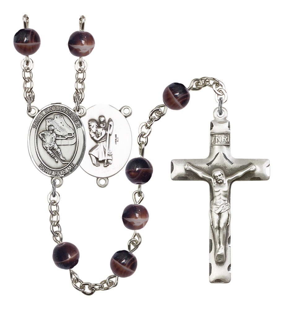 Men's St Christopher Rosary Beads Silver Plated R6004S-8504