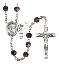 Men's St Christopher Rosary Beads Silver Plated R6004S-8504 - $74.55