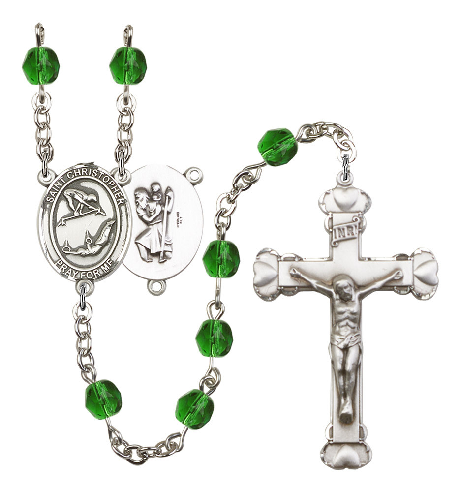 Women's St Christopher Rosary Beads Silver Plated Birthstone May R6001EMS-8513
