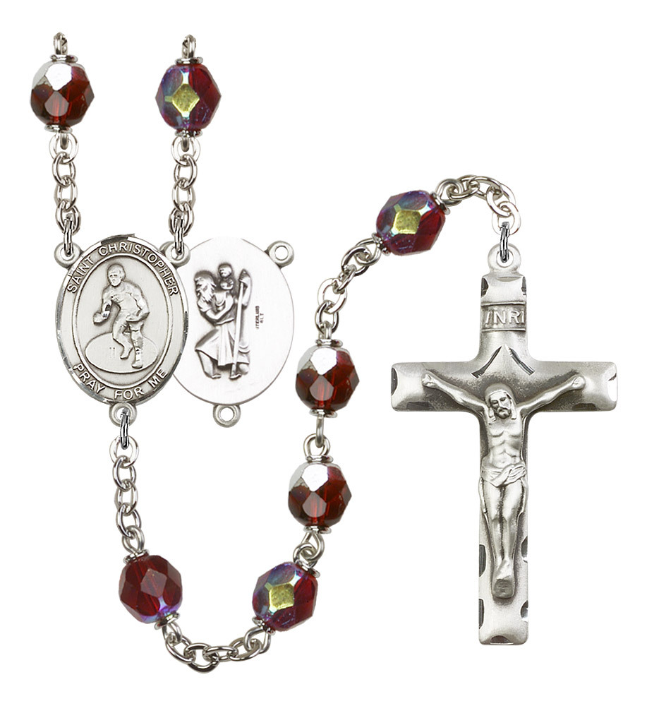 Women's St Christopher Rosary Beads Silver Plated R6008GTS-8508
