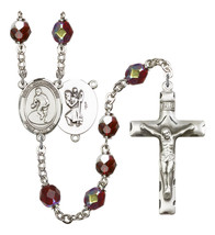 Women's St Christopher Rosary Beads Silver Plated R6008GTS-8508 - $74.55