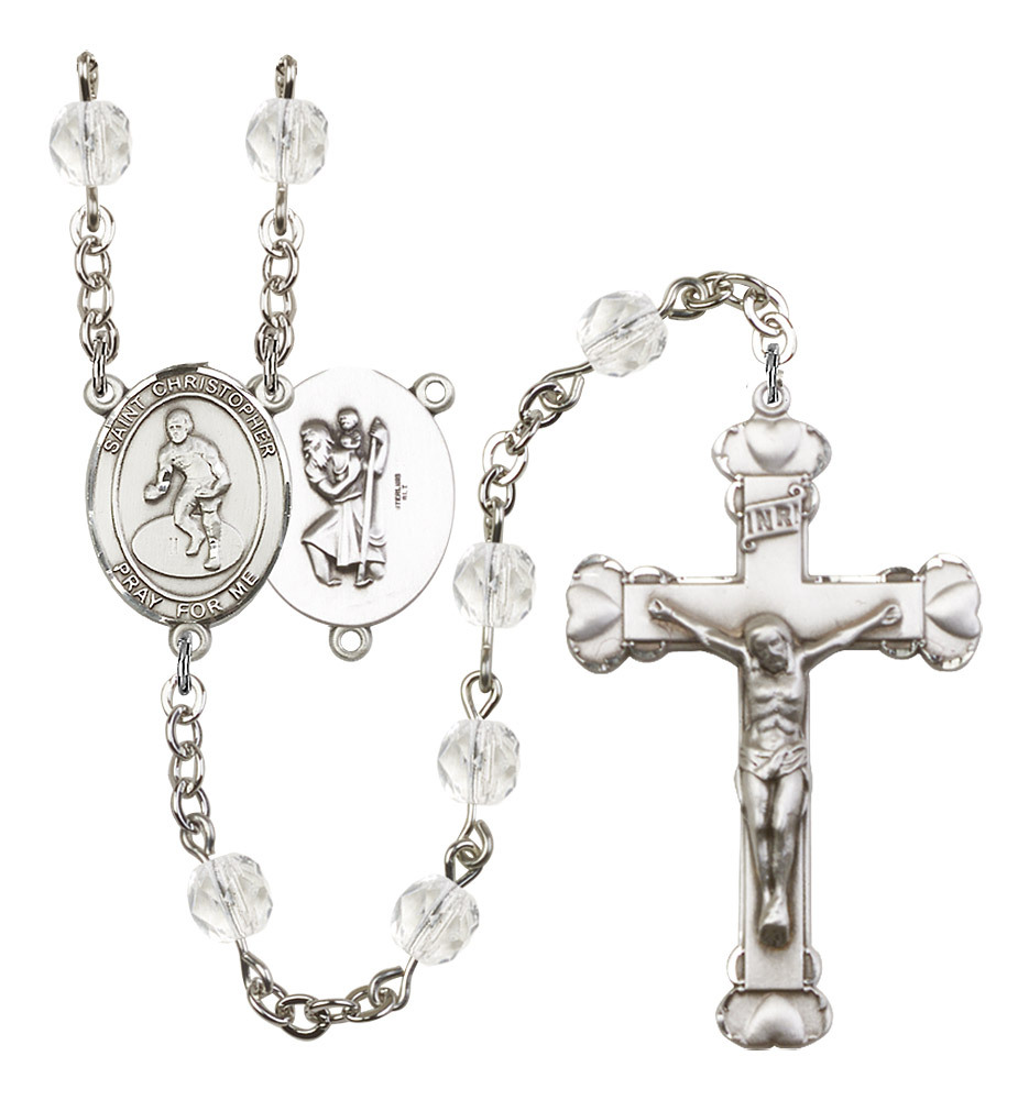 Women's St Christopher Rosary Beads Silver Plated Birthstone April R6001CS-8508