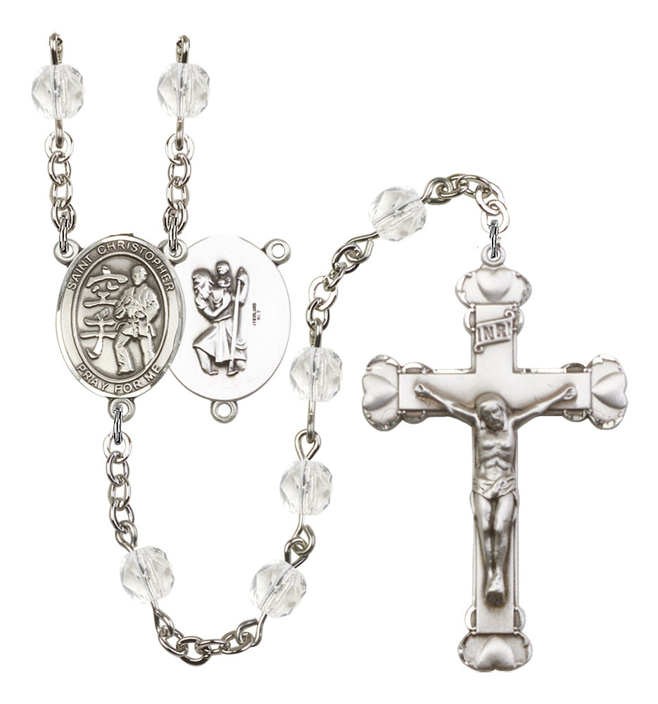 Women's St Christopher Rosary Beads Silver Plated Birthstone April R6001CS-8515