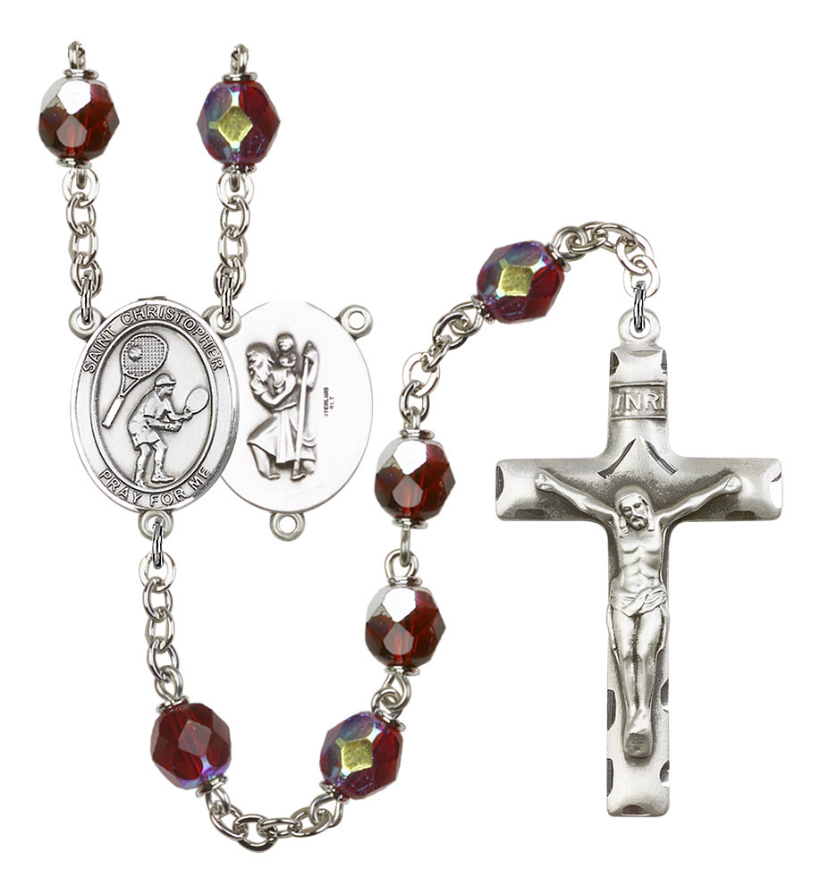 Women's St Christopher Rosary Beads Silver Plated R6008GTS-8505