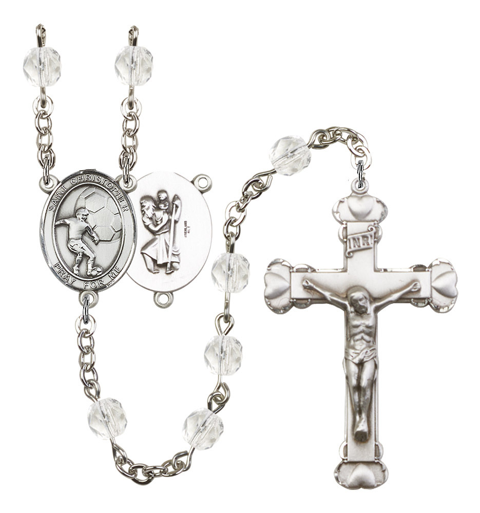 Women's St Christopher Rosary Beads Silver Plated Birthstone April R6001CS-8503