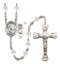 Women's St Christopher Rosary Beads Silver Plated Birthstone April R6001... - $74.55