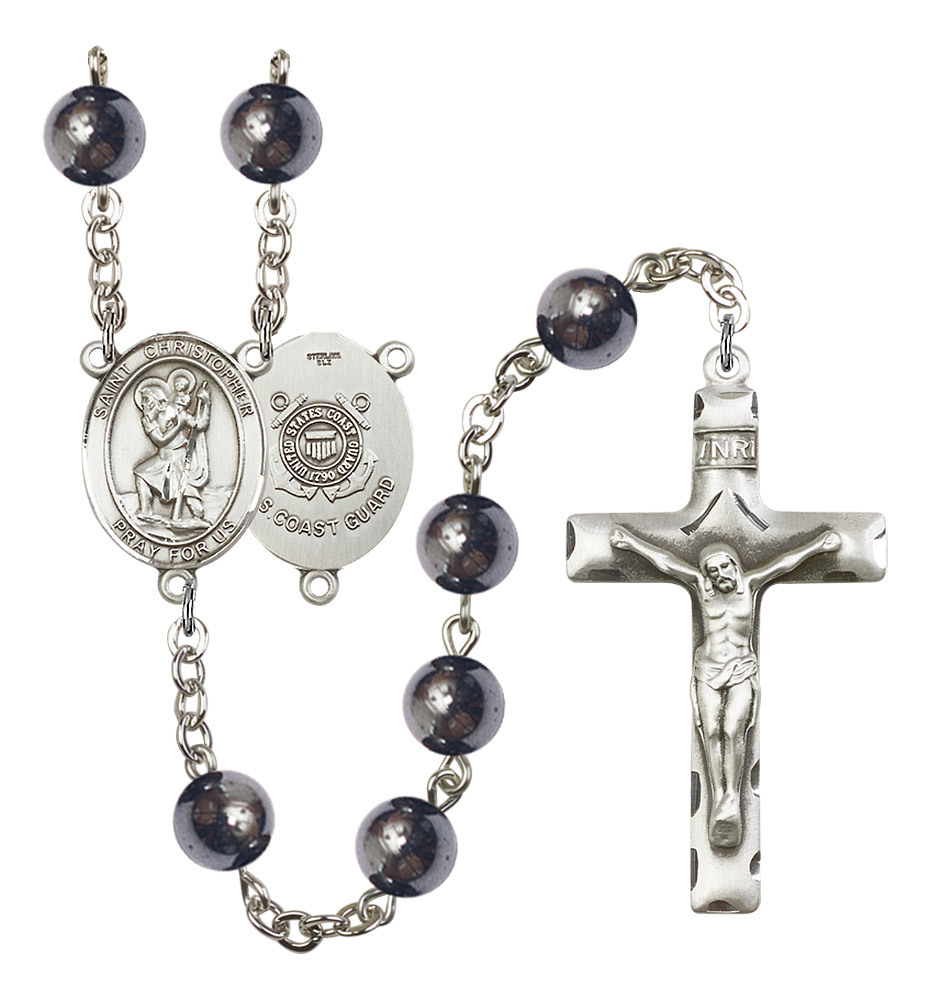 Men's St Christopher Rosary Beads Silver Plated Hematite R6003S-8022S3