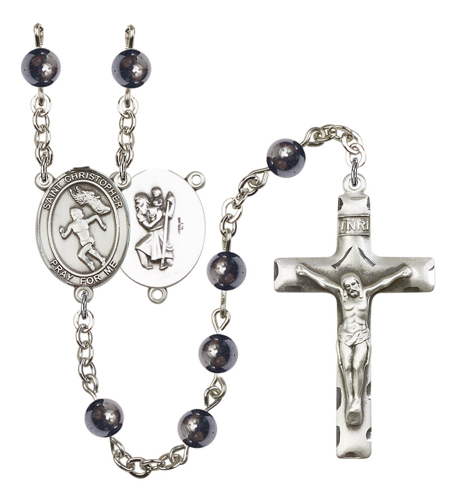 Women's St Christopher Rosary Beads Silver Plated Hematite R6002S-8510