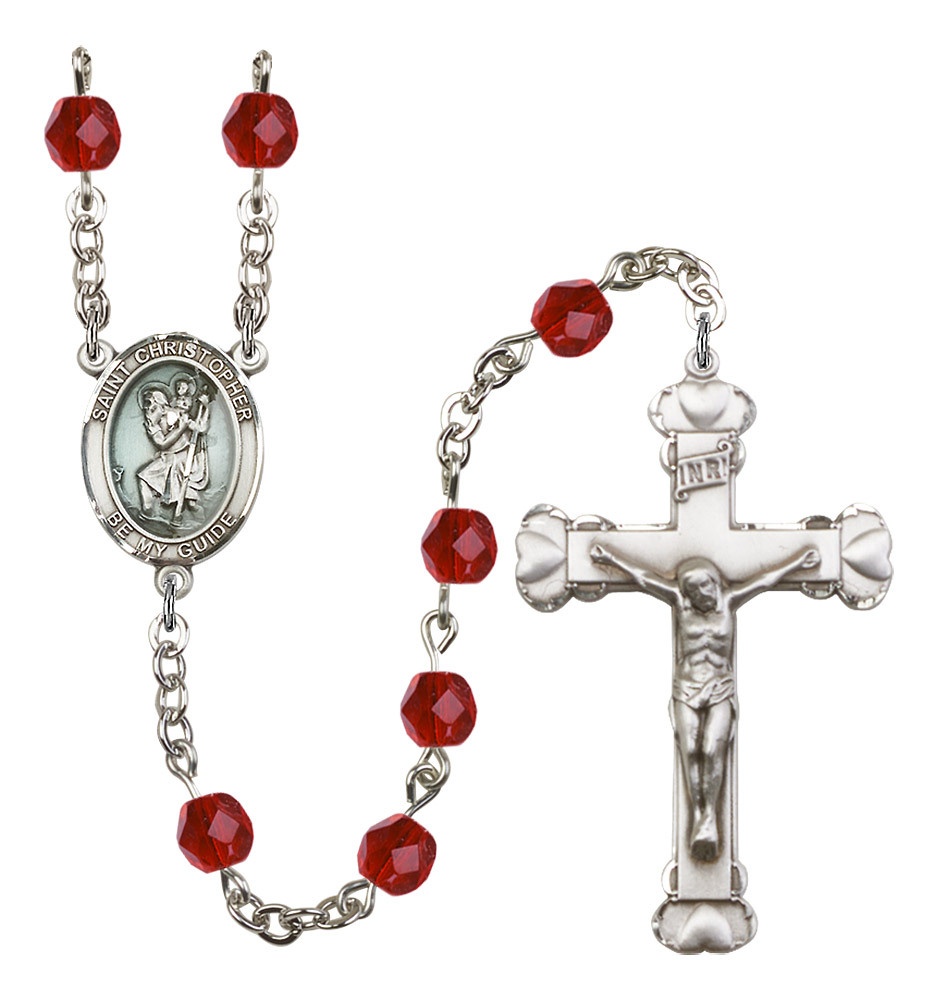 Women's St Christopher Rosary Beads Silver Plated Birthstone July R6001RBS-8022E
