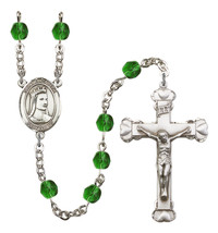 Women's St Elizabeth Of Hungary Rosary Beads Birthstone May R6001EMS-8033 - $74.55