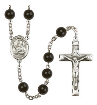Men's St Francis Xavier Rosary Beads Silver Plated Black Onyx R6007S-8037 - $74.55
