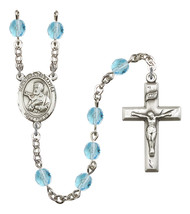 Women's St Francis Xavier Rosary Beads Birthstone March R6000AQS-8037 - $74.55