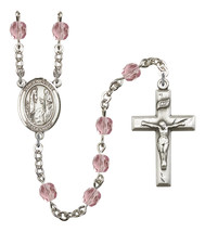 Women's St Genevieve Rosary Beads Silver Plated Birthstone June R6000LAM... - $74.55