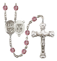 Women's St George Rosary Beads Silver Plated Birthstone Febuary R6001AMS-8040S6 - $74.55