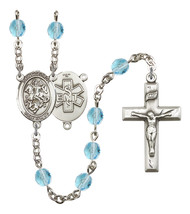 Women's St George Rosary Beads Silver Plated Birthstone March R6000AQS-8040S10 - $74.55