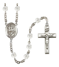 Women's St George Rosary Beads Silver Plated Birthstone April R6000CS-8040 - $74.55