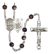 Men's St George Rosary Beads Silver Plated R6004S-8040S4 - $74.55