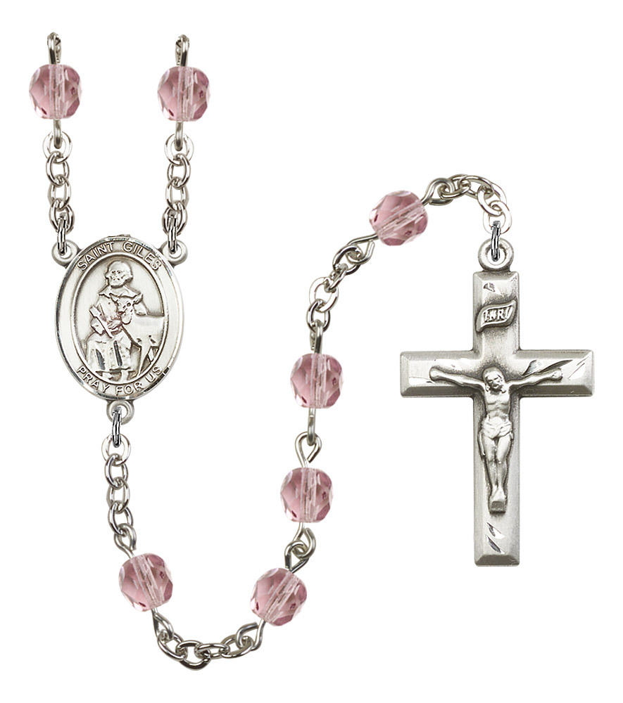 Women's St Giles Rosary Beads Silver Plated Birthstone June R6000LAMS-8349