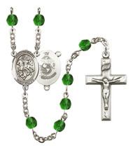Women's St George Rosary Beads Silver Plated Birthstone May R6000EMS-8040S4 - $74.55