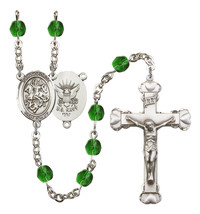 Women's St George Rosary Beads Silver Plated Birthstone May R6001EMS-8040S6 - $74.55