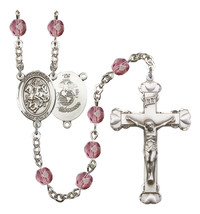 Women's St George Rosary Beads Silver Plated Birthstone Febuary R6001AMS-8040S4 - $74.55