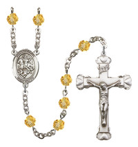 Women's St George Rosary Beads Silver Plated Birthstone November R6001TPS-8040 - $74.55